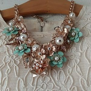Gold floral mint statement necklace w pearls